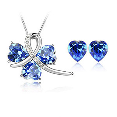 Ensemble de bijoux Cristal Cristal Pierres de naissance Jaune Rouge Rose Rouge Vert Bleu Nuptiales Parures Mariage Soirée 1setColliers