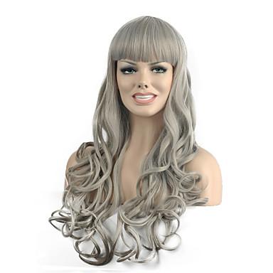 Damen Synthetische Perücken Kappenlos Lang Wellig Grau Kostüm Perücken