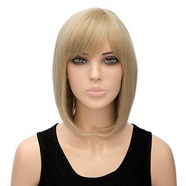 Synthetische Perücken Glatt Blond Bob Bubikopf Blondine Synthetische Haare Damen Blond Perücke Kurz Kappenlos