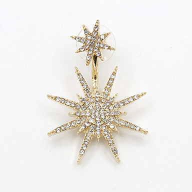 עגילי טיפה אופנתי סגנון מינימליסטי תכשיטי יוקרה אבן נוצצת חיקוי יהלום סגסוגת Star Shape מוזהב תכשיטים ל Party יומי קזו'אל 1pc