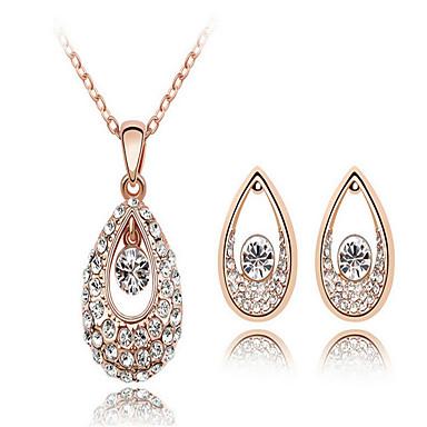 Schmuckset Braut-Schmuck-Sets Kristall Geburtssteine Krystall Weiß Purpur Blau Halsketten Ohrringe Für Hochzeit Party 1 Set