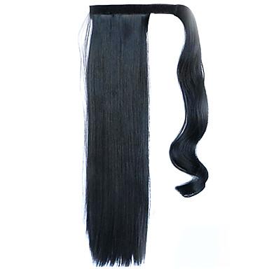 svart 60cm syntetisk høy temperatur tråd parykk rett hår hestehale farge 1