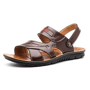 Herre sko Kunstlær Vår Sommer Komfort til Avslappet utendørs Oransje Brun Kakifarget