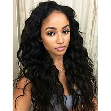 Emberi haj Csipke Paróka Természetes hullám 130% Sűrűség 100% kézi csomózású Afro-amerikai paróka Természetes hajszálvonal Közepes Hosszú