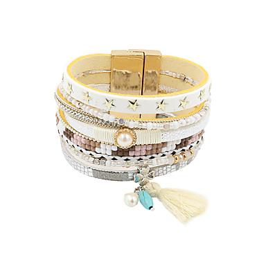 Femme Perle Cuir Strass Charmes pour Bracelets Bracelets en cuir Bracelets - Gland Rétro Mode Bleu Rose Kaki Bracelet Pour Soirée