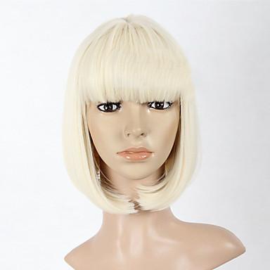 Synthetische Perücken Glatt Bubikopf Damen Kappenlos Medium Synthetische Haare