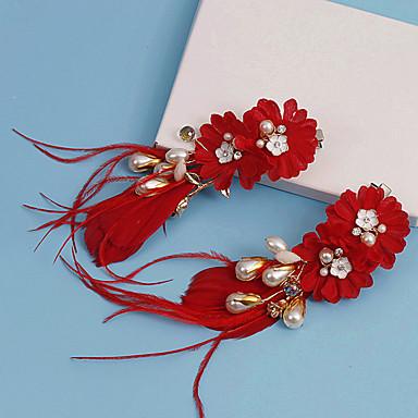 Damen Stoff Kopfschmuck-Hochzeit Besondere Anlässe Blumen Haarclip 2 Stück