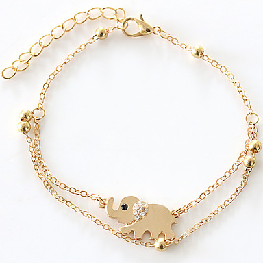 Mulheres Tornezeleira / Pulseiras Strass Imitações de Diamante Liga Luxo Original Fashion Dupla camada Tornezeleira Outros Elefante Animal
