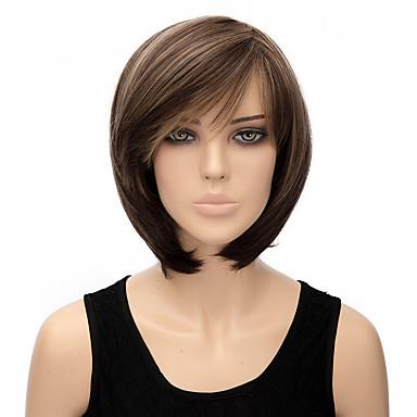 Damen Synthetische Perücken Kurz Gerade Braun Bubikopf Kostümperücke