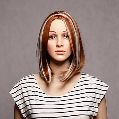 Femme Perruque Synthétique Sans bonnet Court Raide Blonde Perruque Déguisement