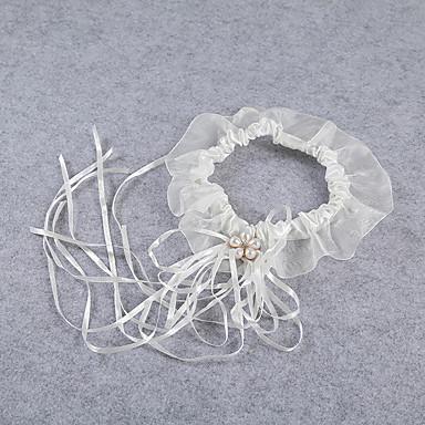 Strumpfband Stretch-Satin Spitze Spitze Schleidenbänder Künstliche Perle Elfenbein