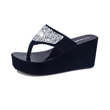 Damen Schuhe Kunstleder Sommer Plattform Creepers Kristall für Normal Weiß Schwarz