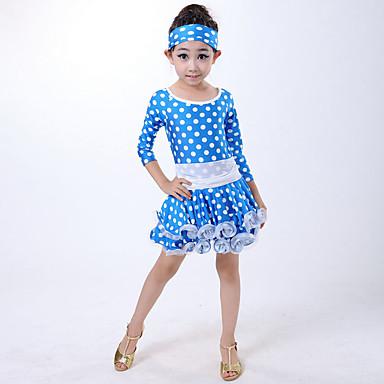 Danse latine Robes Enfant Spectacle Fibre de Lait Plissé Pois 2 Pièces Manchon de longueur de 3/4. Taille moyenneRobe Bandeau pour