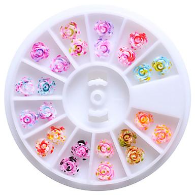 12 farver 6mm harpiks rose blomster 3d nail art nitter tips glitter DIY hjul floral design dekorationer til negle
