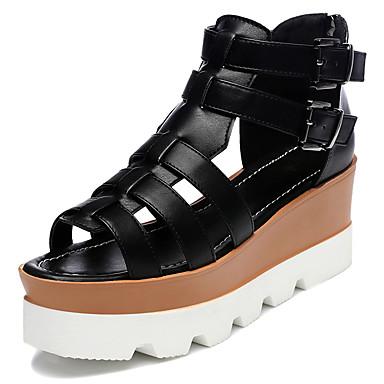 Femme Chaussures Similicuir Printemps Eté Automne Plateforme Boucle Pour Décontracté Habillé Blanc Noir