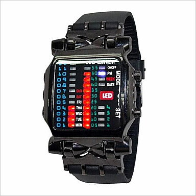 Homens / Mulheres / Casal Relógio de Moda LED Borracha Banda Preta