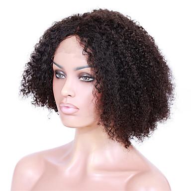 Cabello humano Frontal sin Pegamento Encaje Frontal Peluca Kinky Curly Peluca 130% 150% Densidad del cabello Entradas Naturales Peluca afroamericana Atado 100 % a mano Mujer Media Larga Pelucas de