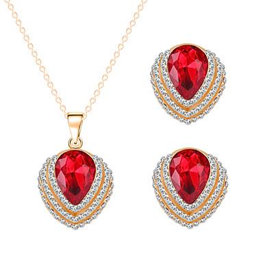 סט תכשיטים לנשים יום שנה / חתונה / ארוסים / מתנה סטי תכשיטים סגסוגת קריסטל / ריינסטון שרשראות / עגילים זהב