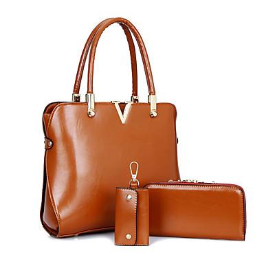 Mulheres Bolsas PU Tote / Capa Prootetora / Conjuntos de saco 3 Pcs Purse Set Marron / Vermelho / Azul