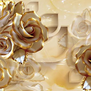 Blomstret Hjem Dekoration Luksus Vægbeklædning, Lærred Materiale Lim påkrævet Vægmaleri, Værelse Tapet