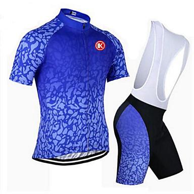 KEIYUEM Manches courtes Maillot et Cuissard à Bretelles de Cyclisme Unisexe Vélo Ensemble de Vêtements/TenusRespirable Séchage rapide