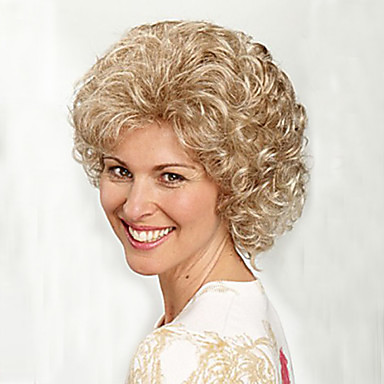 Synthetic Hair Wigs Curly With Bangs Capless Carnival Wig Halloween Wig Short Blonde