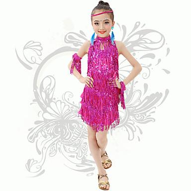 Werden wir Latin Tanz Kinder Leistung Spandex Pailletten / Quaste (n) backless Kleider fuchsia