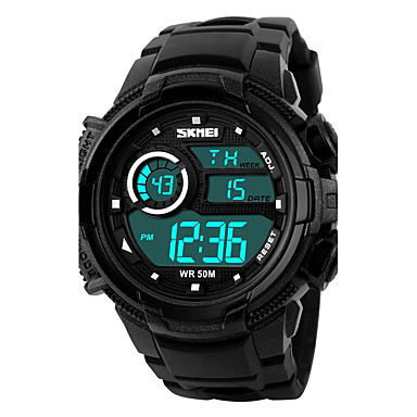 SKMEI Herre Sportsklokke Digital Watch LCD Kalender Kronograf Vannavvisende alarm Selvlysende Stoppeklokke Digital Gummi Band Svart