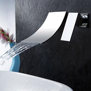 עכשווי חורים צדדיים מפל מים שסתום קרמי שני חורים שני חורי ידית אחת כרום, חדר רחצה כיור ברז