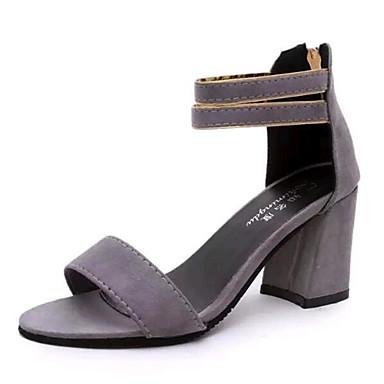 נעלי נשים-סנדלים-פליז-עקבים-שחור / אפור-שטח / קז'ואל-עקב עבה