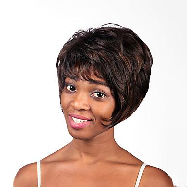 פאות סינטטיות טבעי ישר שיער באיכות מעורב בצבע בלי כומתה באורך הבינוני גבוהה