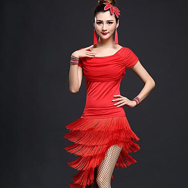 Latein-Tanz Austattungen Damen Leistung Nylon Chinlon Quaste Kurze Ärmel Hoch Top Rock