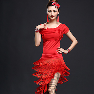 Baile Latino Accesorios Mujer Rendimiento Nailon / Chinlon Borla Mangas cortas Cintura Alta Top / Falda / Danza Latina