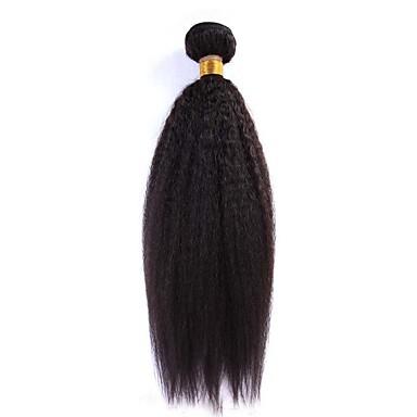 100g / kpl 12-24inch Brasilian neitsyt hiukset luonnollinen musta kinky suora ihmisen hiukset kutoa nippuja