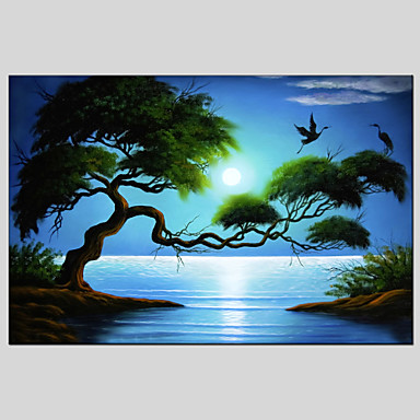 מצויר ביד L ו-scape ים- תיכוני / פסטורלי / סגנון ארופאי / מודרני / קלאסי / מסורתי / ריאליסטי,פנל אחד ציור שמן צבוע-Hang