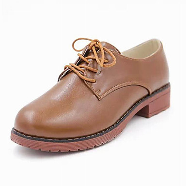 Feminino Sapatos Courino Inverno Primavera Verão Outono Salto Robusto Plataforma Cadarço para Casual Social Branco Preto Marron