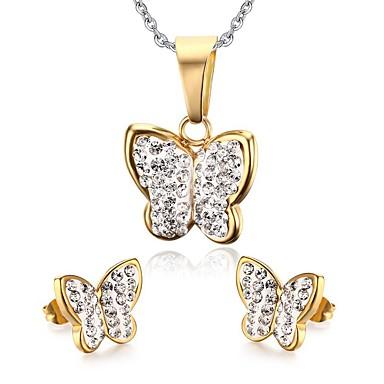 Damen Schmuckset Niedlich Party Freizeit Modisch Brautkleidung Europäisch Edelstahl Tierform Schmetterling Halsketten Ohrringe Für