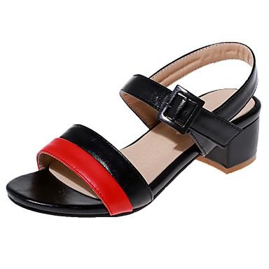 Feminino Sapatos Courino Primavera Verão Salto Robusto Para Casual Social Preto Bege Azul