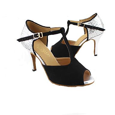 Kadın's Latin Dans Ayakkabıları / Balo Işıltılı Simler Sandaletler Kişiye Özel Kişiselleştirilmiş Dans Ayakkabıları Kırmızı / Mavi /