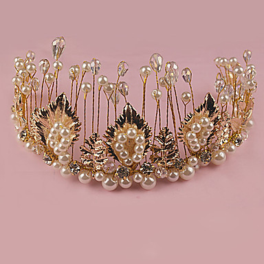 Damen Strass Messing Legierung Künstliche Perle Kopfschmuck-Hochzeit Besondere Anlässe im Freien Tiara 1 Stück