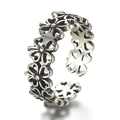 בגדי ריקוד גברים נשים טבעות רצועה קאף טבעת וינטאג' אופנתי מתכווננת כסף סטרלינג תלתן ארבעה עלים תכשיטים עבור יומי קזו'אל