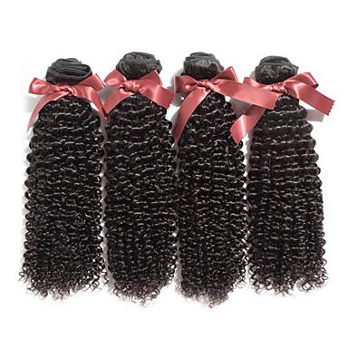 Az emberi haj sző Brazil haj Kinky Curly 18 hónap 4 darab haj sző