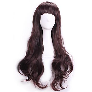 Kostüm Perukları / Sentetik Peruklar Bukle / Dalgalı Bantlı Kahverengi Kadın's Bonesiz Karnaval Peruk / Cadılar Bayramı Peruk Sentetik Saç