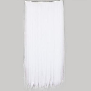 Mit Clip Gerade Synthetik Haarstück Haar-Verlängerung Weiß