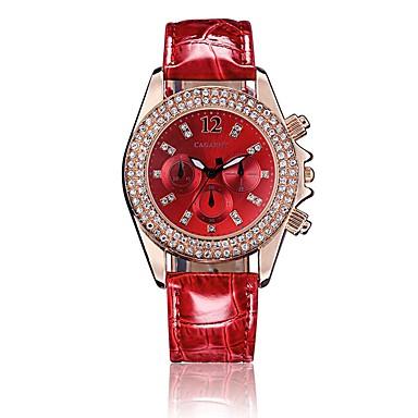 Mulheres Relógio Elegante Quartzo Relógio Casual PU Banda Preta Branco Vermelho Verde Rosa Branco Preto Vermelho Rosa claro