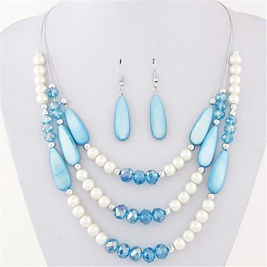 Femme Cristal Perle Ensemble de bijoux Boucles d'oreille Colliers décoratif - Soirée Travail Décontracté Bohème Multicouches Mode Noir