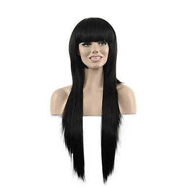 natürliche lange Länge schwarze Farbe populär gerade synthetische Perücke für Frau