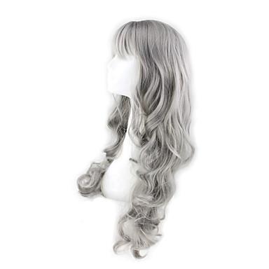 Synthetische Haare Perücken Große Wellen Mit Pony Karnevalsperücke Halloween Perücke Grau