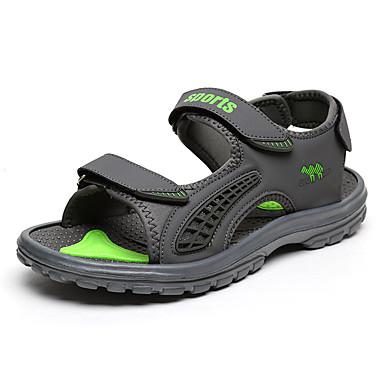 Homens sapatos Courino Tule Primavera Verão Solados com Luzes Sandálias Velcro para Atlético Casual Cinzento Azul