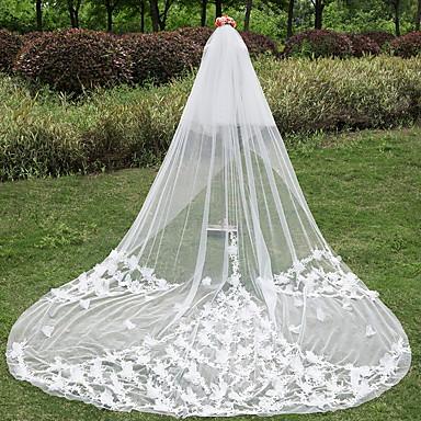 Zweischichtig Schnittkante Hochzeitsschleier Kathedralen Schleier Mit Applikation Spitze Tüll